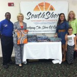 Sandy brought 150 sackpacks donated by Office Depot to the SouthShore Chamber of Commerce New Teacher Breakfast at Destiny Church in Ruskin.