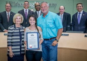 Commissioner Sandy Murman commended Chelsea Baker on becoming the first female in Hillsborough County history to pitch for a High School Varsity Team. Chelsea attends Durant High School and she accepted the honors with her dad, Rod Mason.