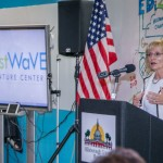 Commissioner Sandy Murman welcomes guests to the EDI2 (Economic Development Innovation Initiative) one-year anniversary celebration at Tampa Bay WaVE.