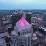Sandy proclaimed Breast Cancer Awareness Day on Oct. 21. SunTrust in downtown Tampa shows support of the proclamation in Hillsborough on that day. A County employee took this great shot of the SunTrust Building.