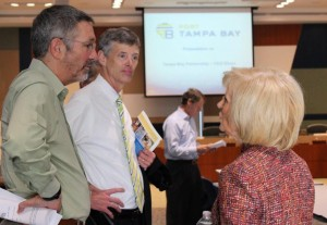 Commissioner Sandy Murman speaks with Stuart Rogel, President/CEO of the Tampa Bay Partnership, and John Thorington, VP of Government Affairs at Port Tampa Bay, at the CEO Direct event where she delivered the welcome address.