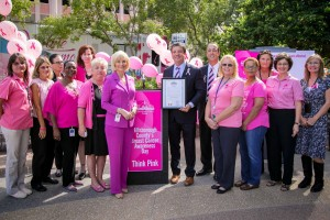 Commissioner Sandy Murman stands with breast cancer survivors during a special ceremony she hosted for Breast Cancer Awareness Day at Hillsborough County Center.