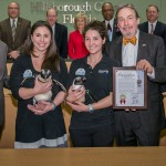 Commissioner Sandy Murman helped recognize the Florida Aquarium on its 20th Anniversary at a BOCC meeting. On hand to accept the commendation for the Aquarium were Thom Stork, Mark Watson, Mark Haney, Meagan, Catherine and two penguins Rocky and Reef.