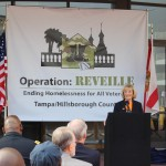 Commissioner Sandy Murman welcomes attendees to Hillsborough County's Operation Reveille with the goal of ending veteran homelessness