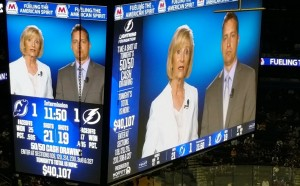 Sandy shares the Anti-bullying message on the Jumbotron at a Lightning game along with Hillsborough Schools Superintendent Jeff Eakins.