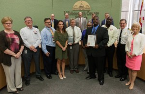 Sandy Murman presented a commendation to the Hillsborough County Emergency Management team, recognizing them for receiving the rare honor of nationwide accreditation, reinforcing that the Office of EM will manage our preparations and response to disaster in an exceptional manner. The team's director, Preston Cook, accepted, along with his EM team.