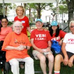 Sandy Murman talks with Becki Forsell, founder of YES! of America United, and members of the group, while attending the Interact Hillsborough event at Chillura Park in downtown Tampa for the first Hillsborough County Diversity Festival, sponsored by the Diversity Advisory Council of Hillsborough.