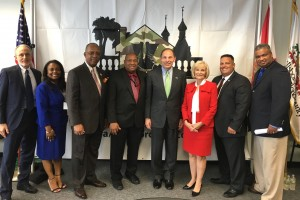 Sandy, along with Commissioner Les Miller, and staff from the county's administration, veterans affairs and homeless initiative, meet with U.S. Veterans Affairs Secretary Robert A. McDonald about Hillsborough's Operation Reveille which assists homeless veterans.