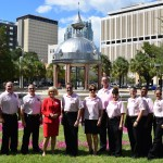 Commissioner Murman stands with Hillsborough County Fire Rescue during a special Think Pink event she hosted for Breast Cancer Awareness Day at Chillura Park. HCFR wore pink polos in honor of the occasion.