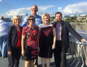 Sandy travels aboard the Cross Bay Ferry with Ed Turanchik, Congresswoman Kathy Castor, Katharine Eagan, HART CEO, and Dr. Steven Polzin, of USF.