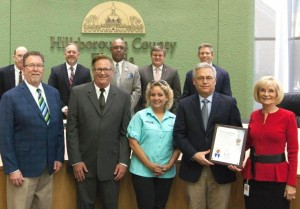 Commissioner Sandy Murman recognized TECO's Manatee Viewing Center on its 30th Anniversary, and encouraged citizens to visit this natural resource in south Hillsborough County. On hand to receive the commendation were TECO's Alan Denham, Stan Kroh, and volunteers Howard and Jean Fulwood.
