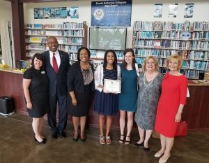 Commissioner Sandy Murman attended a scholarship reception at Brooks DeBartolo Collegiate High School to present a Florida PrePaid Scholarship to graduating senior Sarah Metayer. On hand for the presentation were Kimberly Jowell, President of the Hillsborough Education Foundation, Wylms & Andrea Metayer, parents of recipient, and Laura & Kim Brannan, daughter and widow of Scholarship Honoree John Brannan. Commissioner Murman is a Florida PrePaid Foundation Board Member.